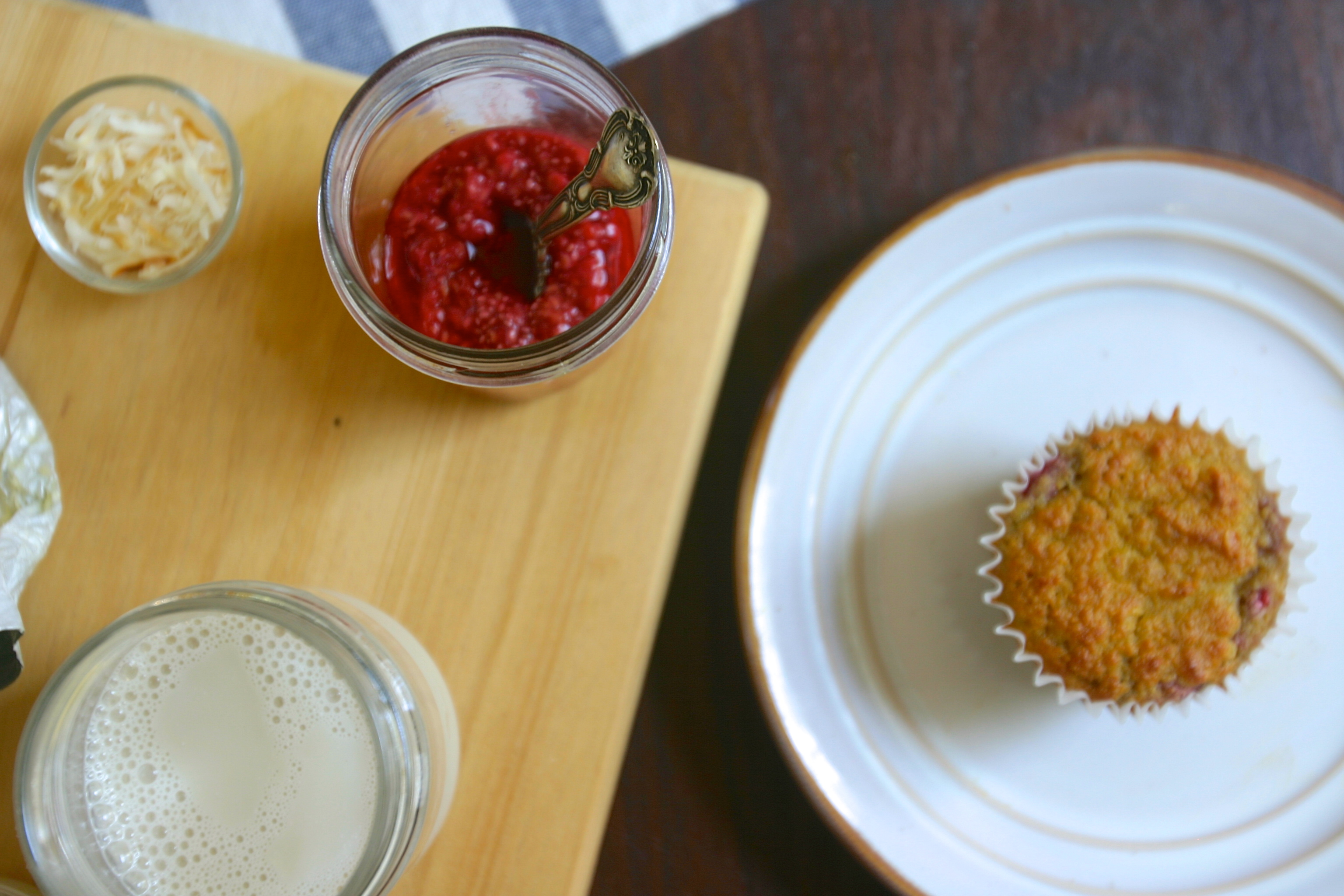 paleo coconut orange raspberry muffins with raspberry chia jam