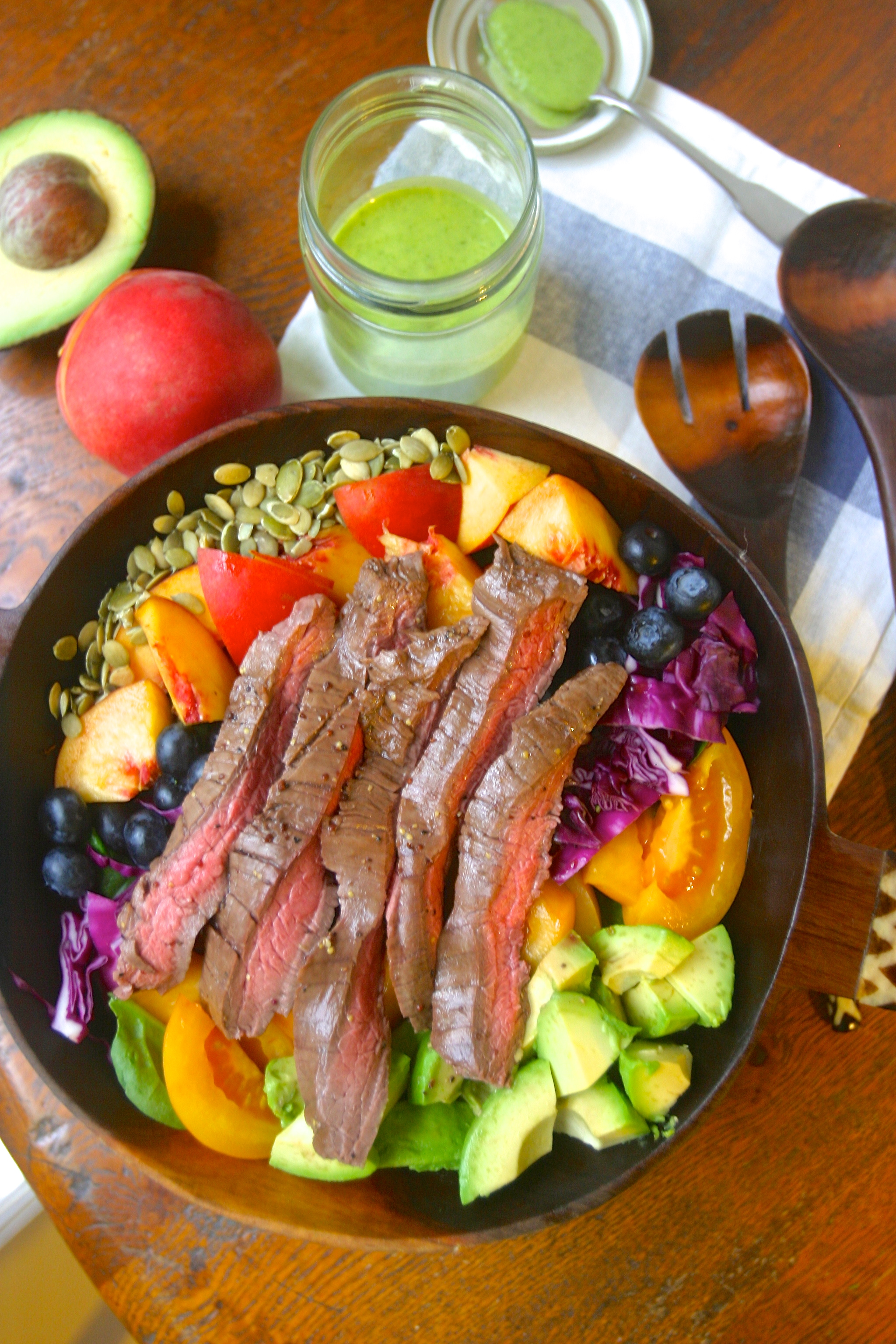 paleo summer steak salad with green goddess dressing